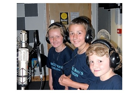Zannasan, Gemmasan and Peterson recording their new single Beautiful at Alive Music Studios in Wadebridge.