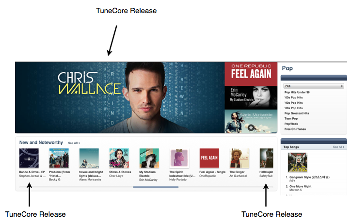 TuneCore Artist Features on iTunes