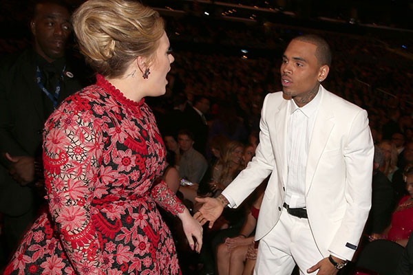 Adele and Chris Brown (© Getty)